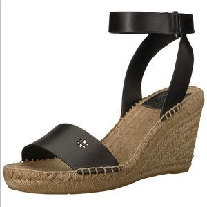 TORY BURCH Wedged Sandals, black leather.